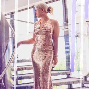Hot Miami rose gold homecoming formal dress NWT